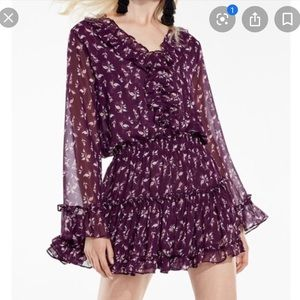 MISA Los Angeles Floral Purple Mini Smock dress S